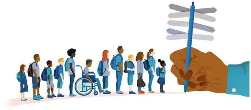 Gambar ilustrasi anak-anak berbaris pergi sekolah